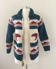 New Canadian Sweater Company for J Crew Bear Zip Wool Cardigan Sweater Sz XXS XS