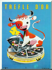 French Advert Sign - Trefle d' Or Fromage Cheese & Cow