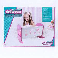 Holz Puppenwiege Bett Weiß/Pink Puppenbett Schaukelbett Puppen Wiege NEU / OVP