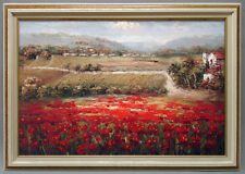 Framed Oil Painting of French Country Side with Fields of Flowers nad Grass