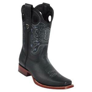 Men's Wild West Genuine Leather Western Boots Rodeo Square Toe Leather Sole