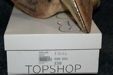 TOPSHOP SIZE 7 WOMENS CRACKLED GOLD SLIP ON COURT SHOES PUMPS HEELS POINTED TOES