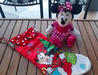 Minnie Mouse Christmas Stocking Red & Plush Doll Pink Polka Dot Dress