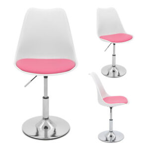 Pink Cushioned Desk Stool Office Chair Chrome Legs Lift Swivel Small Adjustable