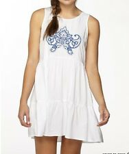 Lovely Summer/ Beach Ladies Blue Embroidered White Dress Size 14 - 100% Viscose