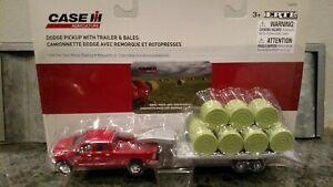 1/64 Ertl Dodge Pickup W/ Trailer And Bale's