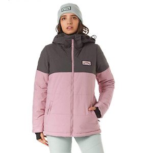 Billabong Women's Snow Jacket Down Rider Twill Jacket - Mauve - New
