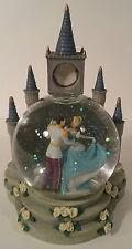 Disney's Cinderella & Prince Charming Dancing Snow Globe Castle Clock Holder