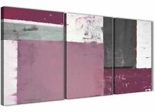 Plum Grey Abstract Painting Canvas Wall Art Print - Set of 3 - 125cm Wide - 3342