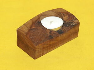 ELM WOOD TEA LIGHT HOLDER, HAND MADE IN WALES