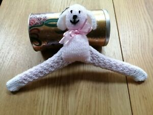 HAND KNITTED PINK & WHITE PUPPY CHILD'S COVERED WOODEN HANGER