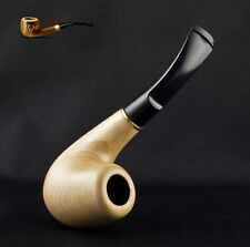 "Hand Made White Wooden Tobacco Smoking Pipe "" Bent Bright "" Made by Artisan"
