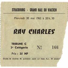RAY CHARLES Concert Ticket Stub STRASBOURG FRANCE 5/30/62 HALL DU WACKEN BUSTED