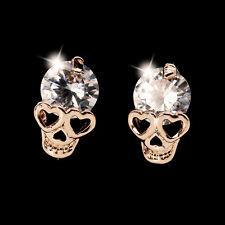 Fashion Women Crystal Skull Head Ear Studs Earrings Rose Gold Plated Jewelry