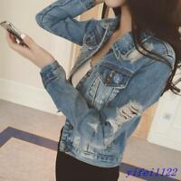 Girls Womens Slim Fit Frayed Denim Short Jackets Jean Coat Outwears Ripped Hole