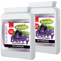 Acai Berry Promotes Weight Loss 1000mg 180 Capsules Purvitz UK