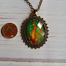Victorian-style LARGE Peacock Pendant on antique-gold-coloured long chain NEW