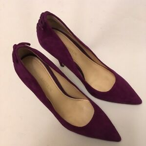 Enzo Angiolini Purple Suede Pumps - Lace Back Pointy SIZE 7 M