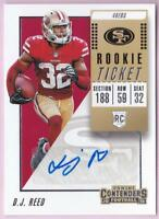 D.J. REED RC 2018 CONTENDERS ROOKIE TICKET AUTO #213 AUTOGRAPH 49ERS