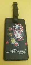 Ed Hardy Pirate Girl Skull Black Faux Leather Luggage Tag