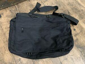 Eddie Bauer black canvas nylon messenger cross body laptop brief case bag