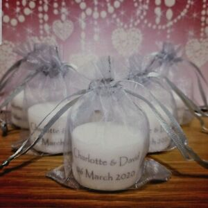 Personalised Candle Tealight Wedding Favours in Silver (Set of 10)