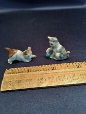 Pair Cute Antique Dollhouse Miniature German Kitty + Dog Porcelain