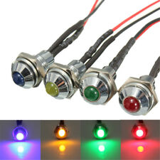 8mm LED Metal Indicator Pilot Dash Light Lamp 12V Car Truck Red Blue Green Amber