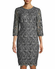 St John Collection Plume Embroidered Guipure Lace Dress 6 Charcoal Multi