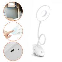 LED Clip Lámpara USB Escritorio Mesita de Noche Lectura Libro Regulable Luz Ring