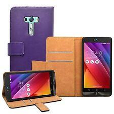 Wallet PURPLE Leather Flip Case Cover Pouch For Asus Zenfone Selfie (ZD551KL)