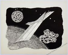 Space scene, July 8, 1977. Pen and ink on card 13 1/2 x 11 by Robert E. Gilbert.