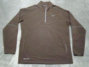 Nike Therma-Fit Mens Large Pullover Sweatshirt 1/4 Zip Brown Fleece