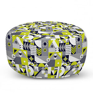 Ambesonne Abstract Polygon Ottoman Pouf Decor Soft Foot Rest & Removable Cover