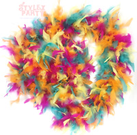 DELUXE UNIQUE MULTICOLORED RAINBOW FEATHER BOA 80G 1.2 METERS FANCY DRESS 1920