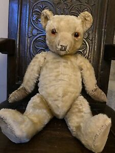 Antique Chiltern Mohair Bear With Replaced Eyes. 21 Inches. No Smoking Home