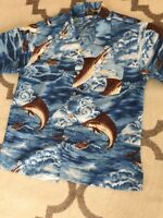 Men's Hawaiian Tropical Short Sleeve Shirt Basix Size Large Fish Print