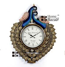 Traditional Rajasthani Hand Painted Wooden Peacock Shape Wall Clock - 465