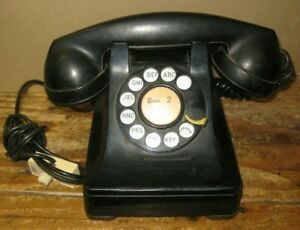 1940's Western Electric Black Rotary Dial Telephone F1