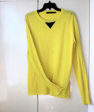 Kai-aakmann Extra long sleeves Neon yellow distressed long top Size L New