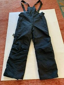 Columbia Ski Pants Men L Suspenders Omni Tech Waterproof Titanium Black Bibbed