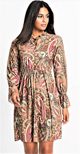 Womens New Paisley Print Long Sleeves and Neck-Tie Shift Dress Elasticated waist