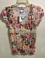 Self Esteem Women's Juniors Pink Red Ivory Floral Top Size L Short sleeves NEW