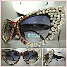OVERSIZED VINTAGE RETRO CAT EYE Style SUN GLASSES Black Frame Crystals Stones