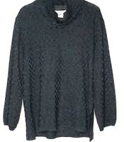 Exclusively Misook Woman Black Checkered Cowl Neck Top Size 2X Tunic Long Sleeve