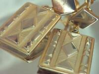 Unique Vintage 50's Gold Tone Tribal Dangle Rectangle Screw Back Earrings 639A0