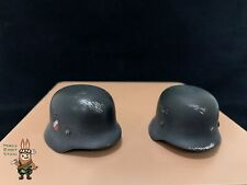 1/6 scale German helmet (Set of 2) Metal War damaged style for WWII diorama