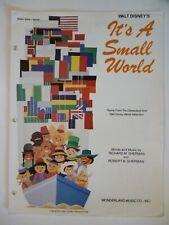 IT'S A SMALL WORLD Sheet Music WALT DISNEY Disneyland Theme 1963 1979 Disney