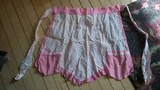 Vintage Half APRON Pink Polka Dots, Pink Trim
