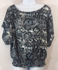 a.n.a. Large Black Blue Snake Skin Flouncy Blouse Open Sleeves Scoop Neck L